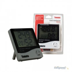 Termo Higrômetro Digital/relógio Umidade/temperatura/ Pd003